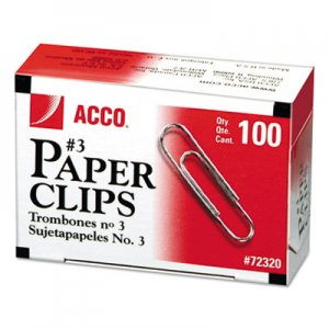 ACCO 72320 Smooth Economy Paper Clip, Metal Wire, #3, Silver, 100/Box, 10 Boxes/Pack