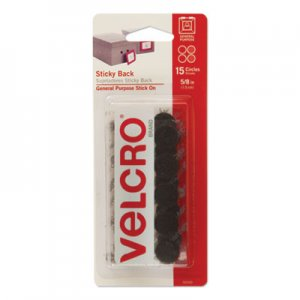 "VELCRO Brand VEK90069 Sticky-Back Hook & Loop Fasteners, 5/8"" dia., Black, 15/Pack"