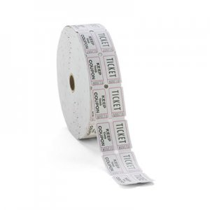 ICONEX ICX94190085 Consecutively Numbered Double Ticket Roll, White, 2000 Tickets/Roll