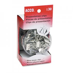 ACCO 71138 Metal Presentation Clips, Assorted Sizes, Silver, 30/Box