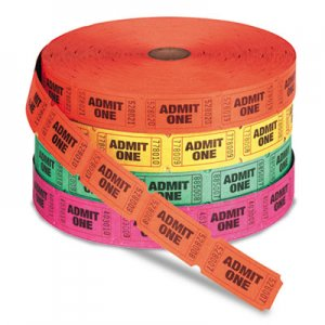 PM Company PMC59002 Admit One Single Ticket Roll, Numbered, Assorted, 2000 Tickets/Roll