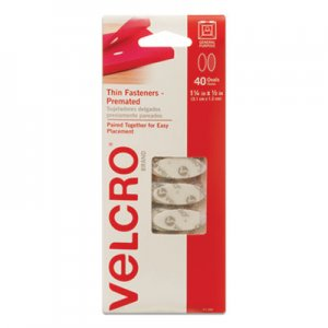 "VELCRO Brand VEK91386 Wafer-Thin Hook and Loop Fasteners, 0.5"" x 1.25"", White, 40/Pack"