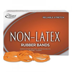 Alliance 37176 Non-Latex Rubber Bands, Sz. 117B, Orange, 7 x 1/8, 250 Bands/1lb Box