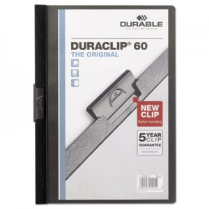 Durable 221401 Vinyl DuraClip Report Cover w/Clip, Letter, Holds 60 Pages, Clear/Black