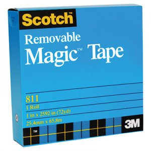 "Scotch MMM811341296 Removable Tape, 3/4"" x 1296"", 1"" Core"