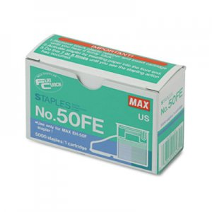 MAX MXB50FE Staple Cartridge for EH-50F Flat-Clinch Electric Stapler, 5,000/Box