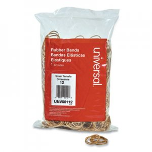 "Universal UNV00112 Rubber Bands, Size 12, 0.04"" Gauge, Beige, 1 lb Box, 2,500/Pack"