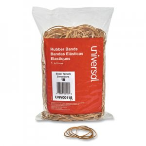 "Genpak UNV00118 Rubber Bands, Size 18, 0.04"" Gauge, Beige, 1 lb Box, 1,600/Pack"