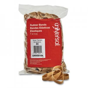 "Universal UNV00184 Rubber Bands, Size 84, 0.04"" Gauge, Beige, 1 lb Box, 155/Pack"