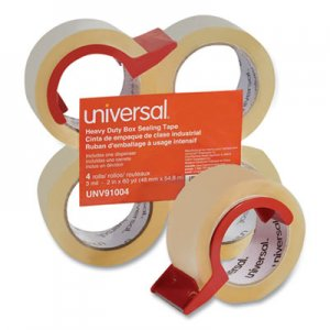 "Genpak UNV91004 Heavy-Duty Box Sealing Tape w/Dispenser, 1.88"" x 60yds, 3"" Core, Clear, 4/Pack"