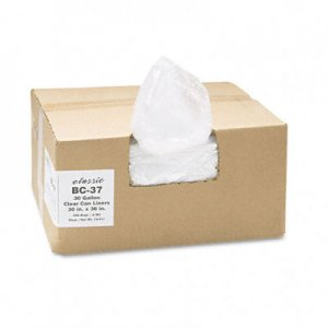 Classic Clear 303618C Clear Low-Density Can Liners, 30 gal, .6 mil, 30 x 36, Clear, 250/Carton