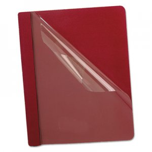 Oxford 58811 Premium Paper Clear Front Cover, 3 Fasteners, Letter, Red, 25/Box