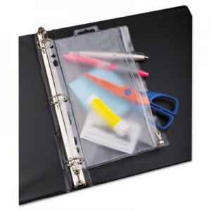 Oxford 68599 Zippered Ring Binder Pocket, 6 x 9-1/2, Clear/White