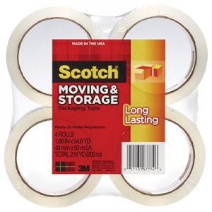 "Scotch MMM36504 Moving & Storage Tape, 1.88"" x 54.6yds, 3"" Core, Clear, 4 Rolls/Pack"
