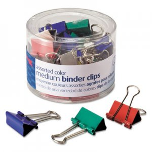 Officemate 31029 Binder Clips, Metal, Assorted Colors, Medium, 24/Pack