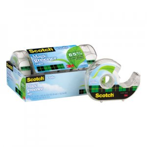 "Scotch MMM6123 Magic Greener Tape in Refillable Dispenser, 3/4"" x 600"", 1"" Core, 6/Pack"