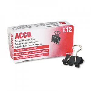 "ACCO 72010 Mini Binder Clips, Steel Wire, 1/4"" Cap, 1/2""w, Black/Silver, Dozen"