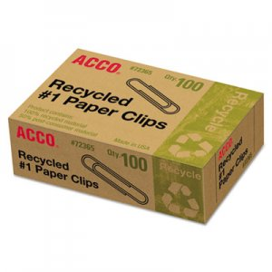 ACCO 72365 Recycled Paper Clips, #1, 100/Box, 10 Boxes/Pack