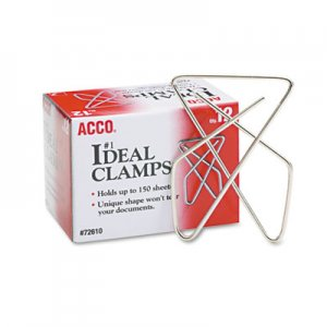 "ACCO 72610 Ideal Clamps, Metal Wire, Large, 2 5/8"", Silver, 12/Box"