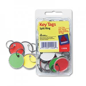 Avery AVE11026 Key Tags with Split Ring, 1 1/4 dia, Assorted Colors, 50/Pack