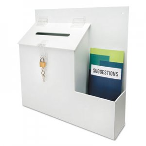 deflecto 79803 Plastic Suggestion Box with Locking Top, 13 3/4 x 3 5/8 x 13, White