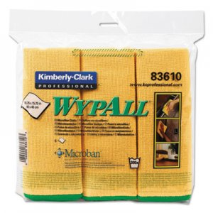 WypAll 83610 Cloths w/Microban, Microfiber, 15 3/4 x 15 3/4, Yellow, 6/Pack