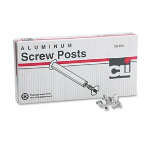 "Charles Leonard 3703L Post Binder Aluminum Screw Posts, 3/16"" Diameter, 1/2"" Long, 100/Box"