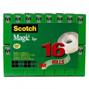 "Scotch 810K16 Magic Tape Value Pack, 3/4"" x 1000"", 1"" Core, Clear, 16/Pack"