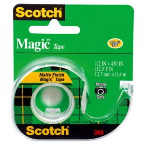"Scotch 104 Magic Tape w/Refillable Dispenser, 1/2"" x 450"", Clear"