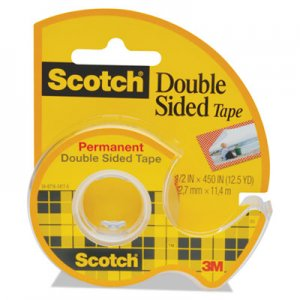 "Scotch 137 665 Double-Sided Permanent Tape w/Hand Dispenser, 1/2"" x 450"