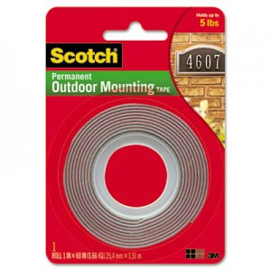 "Scotch 411P Exterior Weather-Resistant Double-Sided Tape, 1"" x 60"", Gray w/Red Liner"