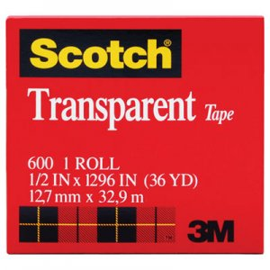 "Scotch 600121296 Transparent Tape, 1/2"" x 1296"", 1"" Core, Clear"