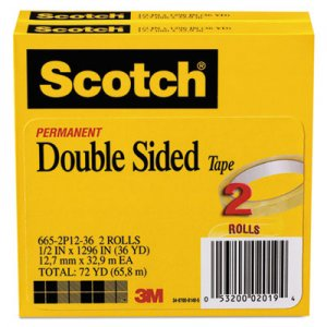 "Scotch MMM6652P1236 665 Double-Sided Tape, 1/2"" x 1296"", 3"" Core, Transparent, 2/Pack"