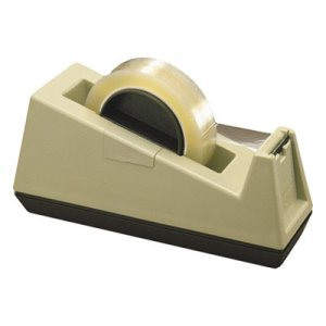"Scotch C25 Heavy-Duty Weighted Desktop Tape Dispenser, 3"" Core, Plastic, Putty/Brown"
