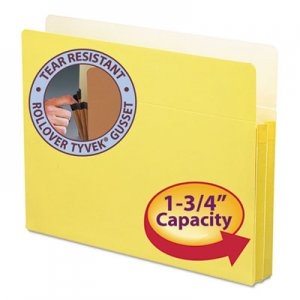 "Smead 73223 1 3/4"" Exp Colored File Pocket, Straight Tab, Letter, Yellow"
