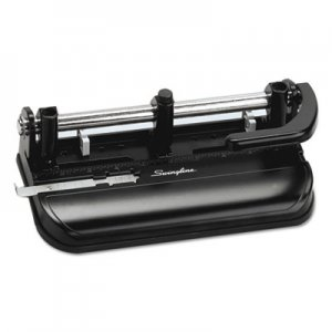 "Swingline GBC 74350 32-Sheet Lever Handle Two-to-Seven-Hole Punch, 9/32"" Holes, Black"
