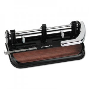 "Swingline GBC 74400 40-Sheet Heavy-Duty Lever Action 2-to-7-Hole Punch, 11/32"" Hole, Black/Woodgrain"
