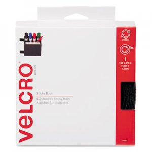 Velcro 90081 Sticky-Back Hook and Loop Fastener Tape with Dispenser, 3/4 x 15 ft. Roll, Black