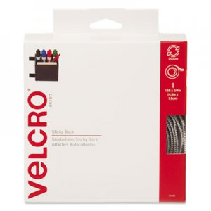 Velcro 90082 Sticky-Back Hook and Loop Fastener Tape with Dispenser, 3/4 x 15 ft. Roll, White