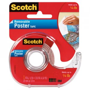 "Scotch 109 Wallsaver Removable Poster Tape, Double-Sided, 3/4"" x 150"", w/Dispenser"
