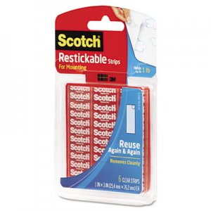 "Scotch R101 Restickable Mounting Tabs, 1"" x 3"", Clear, 6/Pack"