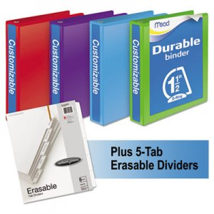 "Mead MEA66534AU Durable D-Ring View Binder Plus Pack, 3 Rings, 1.5"" Capacity, 11 x 8.5, Assorted, 4"