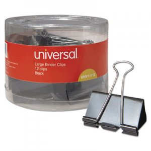 Universal UNV11112 Binder Clips in Dispenser Tub, Large, Black/Silver, 12/Pack
