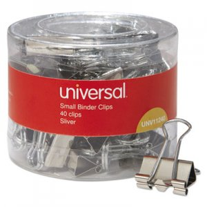 Genpak UNV11240 Binder Clips in Dispenser Tub, Small, Silver, 40/Pack