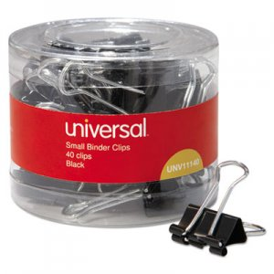 Genpak UNV11140 Binder Clips in Dispenser Tub, Small, Black/Silver, 40/Pack