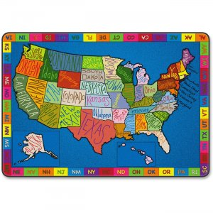 Flagship Carpets FE26258A My America Doodle Map Rug