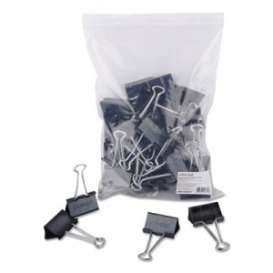 Genpak UNV10220VP Binder Clips in Zip-Seal Bag, Large, Black/Silver, 36/Pack