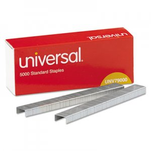 "Genpak UNV79000VP Standard Chisel Point Staples, 0.25"" Leg, 0.5"" Crown, Steel, 5,000/Box, 5 Boxes/Pack, 25"