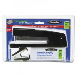 Swingline SWI74793 747 Classic Stapler Plus Pack with Staple Remover and Staples, 20-Sheet Capacity, Black