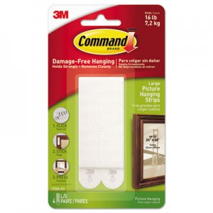 "Command 17206ES Picture Hanging Strips, 1/2"" x 3 5/8"", White, 4/Pack"